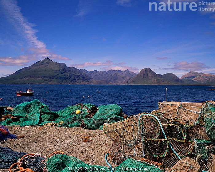 Cuillin hills from fishing village, Elgol, Isle of Skye, Inner Hebrides, Scotland  ,  BOATS,FISHERIES,HARBOUR,LOBSTER POTS,EUROPE,LANDSCAPES,MOUNTAINS,NETS,UK,United Kingdom,British,SCOTLAND, United Kingdom, United Kingdom, United Kingdom  ,  David Kjaer