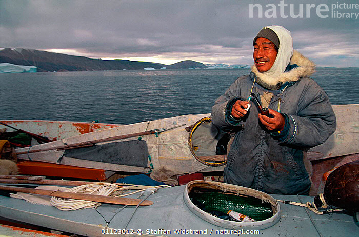 Inuit Narwhal hunter, NW Greenland.  ,  ARCTIC,BOATS,COASTS,HUNTING FOOD,LANDSCAPES,PEOPLE,QAANAAQ,TRADITIONAL,TRIBES,WHALING,GREENLAND  ,  Staffan Widstrand