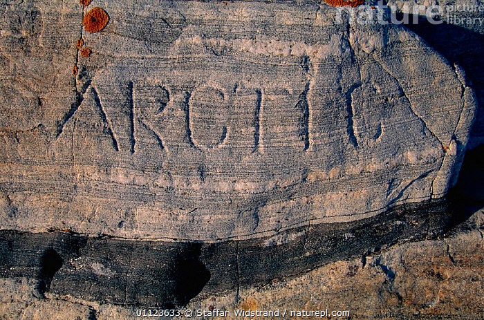 Arctic sign cut in rock on arctic circle, Baffin island, Canada.  ,  LANDSCAPES,NORTH AMERICA,SIGNS,CANADA  ,  Staffan Widstrand