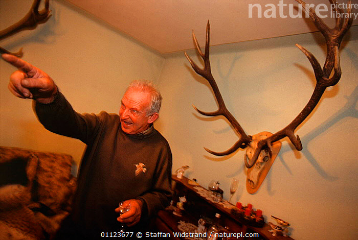 Chief hunting warden, Ion Clinciu, Transsylvania, Romania.  ,  ANTLERS,BUILDINGS,LANDSCAPES,PEOPLE,RESERVE,EUROPE  ,  Staffan Widstrand