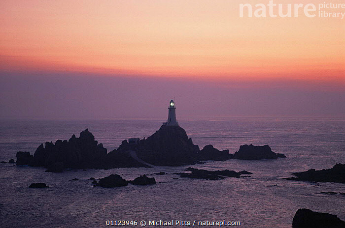 Corbiere lighthouse at sunset, Jersey, Channel Islands  ,  ATMOSPHERIC,BUILDINGS,COASTAL WATERS,COASTS,DUSK,EUROPE,landmark,LANDSCAPES,LIGHTHOUSES,MARINE,sea,seascapes,SUNSET,UK,United Kingdom,British, United Kingdom, United Kingdom, United Kingdom, United Kingdom, United Kingdom,Catalogue1  ,  Michael Pitts