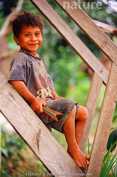 Ese'eja indian boy child, Heath River, Bolivia / Peru Border, Amazonia.  ,  AMAZONIA,CHILDREN,EJA,FOREST,LANDSCAPES,PEOPLE,SMILING,TRIBES,TROPICAL RAINFOREST,VERTICAL,SOUTH-AMERICA  ,  Pete Oxford