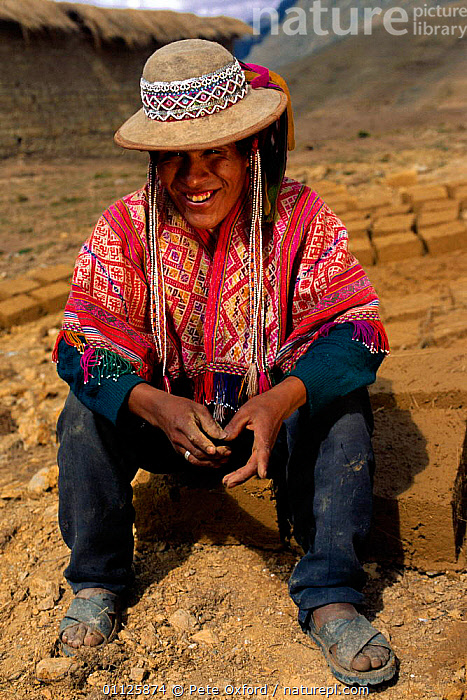 Quechua indian, unmarried men wear beaded hats, near Cusco, Andes, Peru  ,  LANDSCAPES,MAN,PEOPLE,PORTRAITS,TRIBES,VERTICAL,SOUTH-AMERICA  ,  Pete Oxford