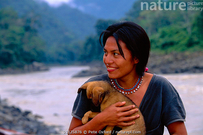 Machiguenga Indian + pet dog, Timpia Community, Lower Urubamba river, Peru Amazonia  ,  CARNIVORES,LANDSCAPES,MAMMALS,PEOPLE,PETS,PUPPY,RIVERS,TRIBES,TROPICAL RAINFOREST,WOMAN,SOUTH-AMERICA  ,  Pete Oxford