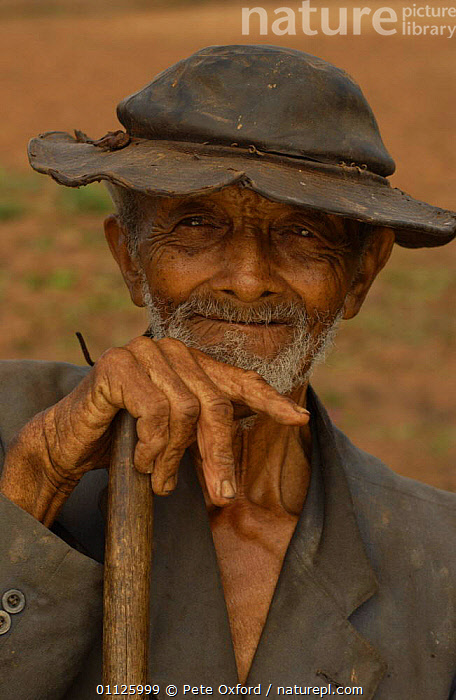 Brazilian farmer portrait, Caatinga, Bahia state, Brazil  ,  LANDSCAPES,PEOPLE,PORTRAITS,TRADITIONAL,VERTICAL,SOUTH-AMERICA  ,  Pete Oxford