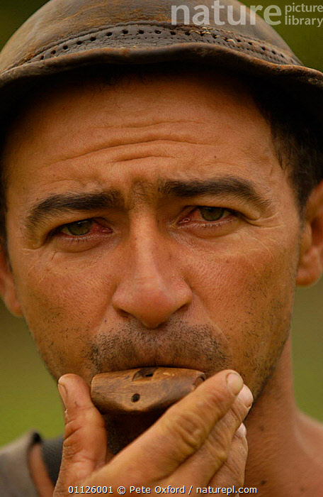 Bird hunter with whistle to call in Doves, Caatinga, Bahia state, Brazil  ,  BIRDS,BRAZILIAN,HUNTING,HUNTING FOOD,LANDSCAPES,PEOPLE,PORTRAITS,TRADITIONAL,VERTICAL,SOUTH-AMERICA  ,  Pete Oxford