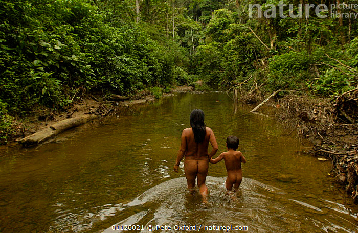 Huaorani indians, indigenous rainforest tribe, Napo Province, Ecuador  ,  BATHING,FAMILIES,LANDSCAPES,NAKED,PEOPLE,RIVERS,TRIBES,TROPICAL RAINFOREST  ,  Pete Oxford