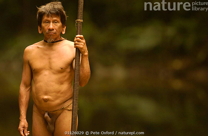Huaorani indian man, indigenous rainforest tribe, Napo Province, Ecuador. Pirahua  ,  INDIANS,LANDSCAPES,MALES,NAKED,PEOPLE,TRIBES,TROPICAL RAINFOREST  ,  Pete Oxford