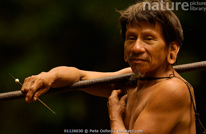 Huaorani indian man, indigenous rainforest tribe, Napo Province, Ecuador. Pirahua  ,  HUNTING FOOD,INDIANS,LANDSCAPES,PEOPLE,PORTRAITS,TRIBES,TROPICAL RAINFOREST  ,  Pete Oxford