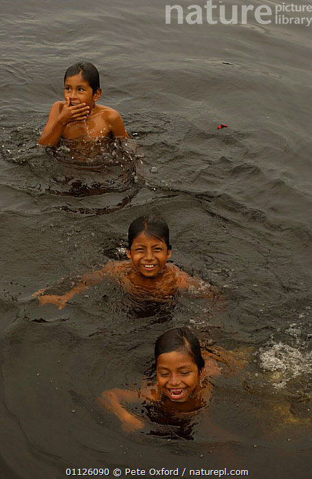 Quechua indian children swimming, A�angu Community, Yasuni NP, Napo River, Ecuador  ,  LANDSCAPES,PEOPLE,RIVERS,THREE,TRADITIONAL,TRIBES,TROPICAL RAINFOREST,VERTICAL  ,  Pete Oxford
