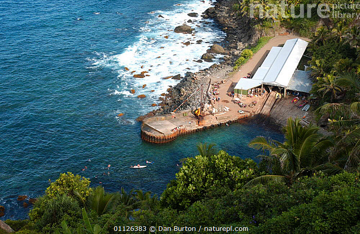 Bounty Bay, Pitcairn island, South Pacific - site of the sinking of The Bounty  ,  COASTS,LANDSCAPES,OCEANIA,PEOPLE,ROADS,TRANSPORT,VEHICLES,SOUTH PACIFIC ISLANDS  ,  Dan Burton
