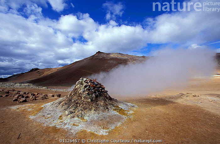 Steaming vents of Namafjall, near Myvatn, Iceland  ,  ACTIVITY,GEOTHERMAL,LANDSCAPES,STEAM,Geology,Europe,Catalogue1  ,  Christophe Courteau