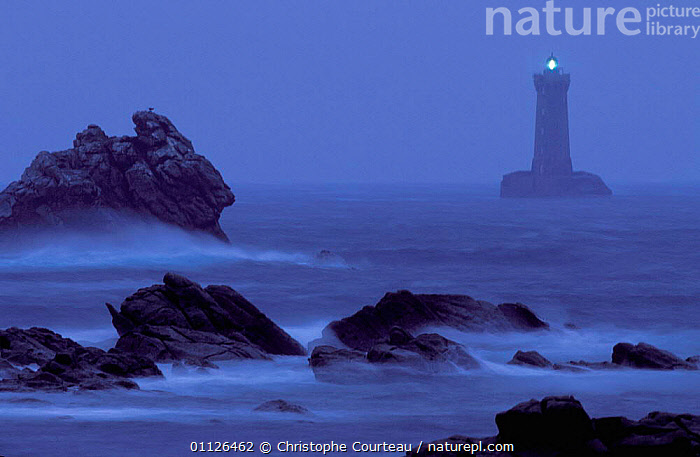 Four lighthouse at night in stormy weather, Brittany, France  ,  BUILDINGS,COASTS,LANDSCAPES,LIGHT,LIGHTHOUSES,ROCKS,SEA,STORMS,WAVES,Weather,Europe,Catalogue1  ,  Christophe Courteau