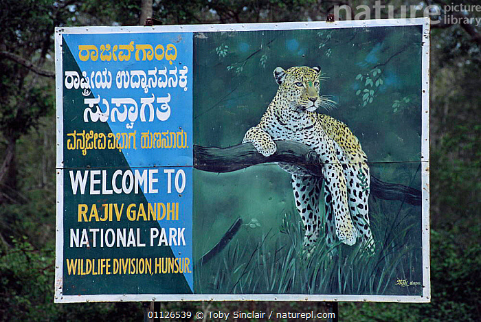 Entrance sign to Nagarahole / Rajiv Ghandi National Park, Karnataka, India  ,  RESERVE,SIGNS,LEOPARD,LANDSCAPES,NP,ASIA,DRAWING,National Park,INDIAN-SUBCONTINENT,INDIA  ,  Toby Sinclair