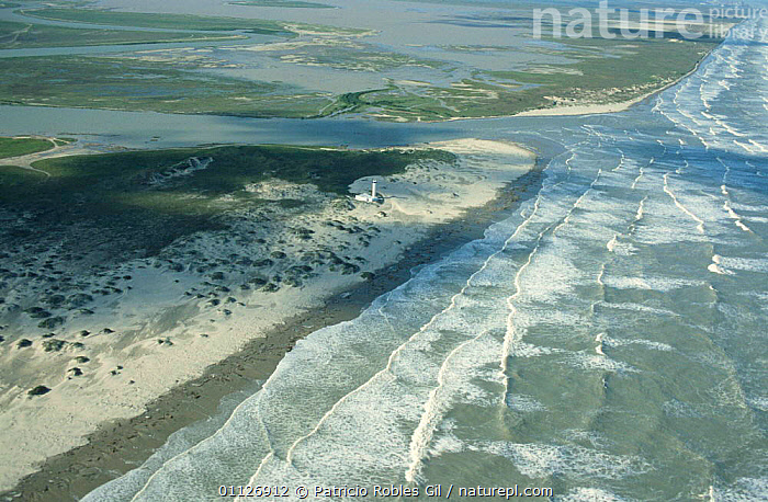 Aerial view of Rio Bravo (Rio Grande) flowing into the Gulf of Mexico, Tamaulipas, Mexico  ,  AERIALS,ATLANTIC,BUILDINGS,CENTRAL AMERICA,COASTAL WATERS,COASTS,LANDSCAPES,LIGHTHOUSE,LIGHTHOUSES,MARINE,MEXICO,OCEAN,RIVERS,SEA,SHORELINE,SURF,TROPICAL,WAVES,CENTRAL-AMERICA  ,  Patricio Robles Gil