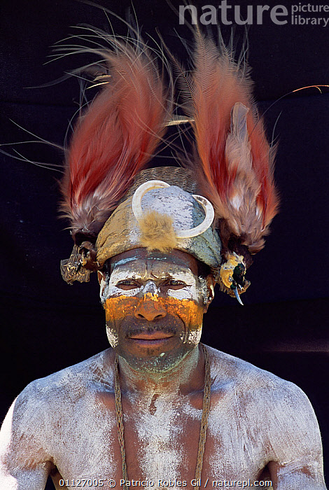 Warrior with painted face portrait, Kene, Goroka, Papua New Guinea, 2001  ,  FEATHERS,LANDSCAPES,HEADDRESS,PAPUA NEW GUINEA,PEOPLE,PORTRAITS,TRIBES,VERTICAL,WEST-AFRICA  ,  Patricio Robles Gil
