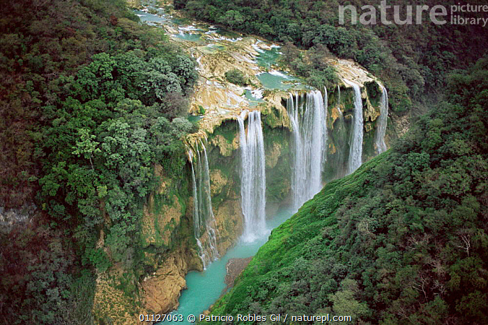Aerial view of Tamul waterfall, Huasteca Potosina, Mexico  ,  LANDSCAPES,RIVERS,WATERFALLS,CENTRAL-AMERICA  ,  Patricio Robles Gil