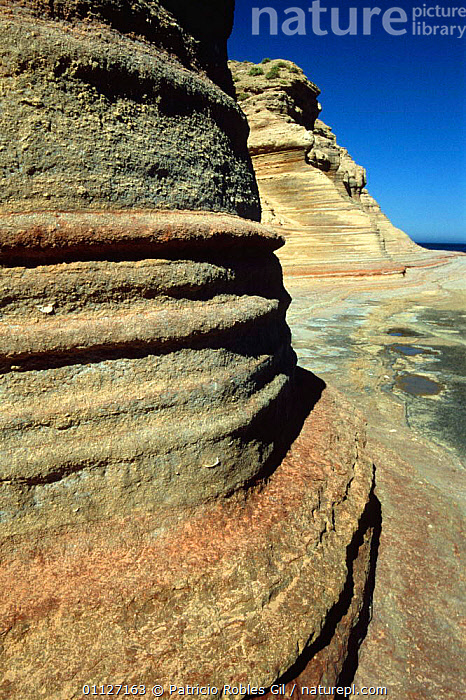 Patterns in eroded rock, San Jose Island, Gulf of California, Mexico  ,  CENTRAL AMERICA,COASTS,EROSION,GEOLOGY,LANDSCAPES,MARINE,MEXICO,PATTERNS,ROCK FORMATIONS,SANDSTONE,VERTICAL,WAVES,CENTRAL-AMERICA  ,  Patricio Robles Gil