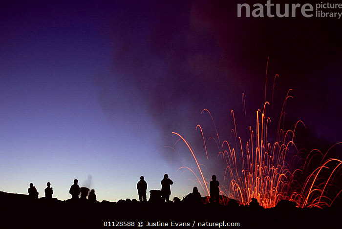 Tourists watch volcano eruption, Mount Yasur, Tanna, Vanuatu  ,  ERUPTING,ACTIVE,LANDSCAPES,NIGHT,PEOPLE,TOURISM,VOLCANOES,Geology,MELANESIA  ,  Justine Evans