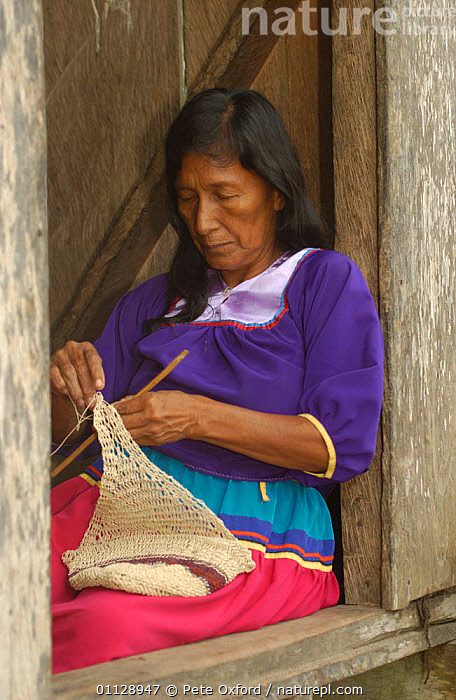 Cofan Indian making 'shigra' string bag from palm fibre. Ecuador, Dureno, TRIBES,TROPICAL RAINFOREST,VERTICAL,PEOPLE,PLANTS,LANDSCAPES,FIBRE,CRAFTS,COMMUNITY, Pete Oxford