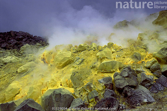 Sulphur fulmerole in crater of active volcano, Sierra Negra, Isabela Is, Galapagos  ,  CONE,GASES,LANDSCAPES,GEOTHERMAL ACTIVITY,STEAM,ROCKS,VOLCANOES,RIM,Geology,SOUTH-AMERICA,Catalogue1  ,  Pete Oxford