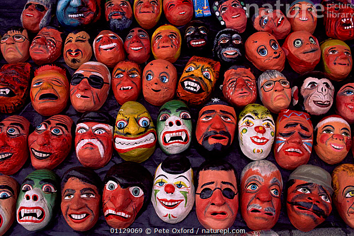 Masks for New Year celebrations, Quito, Ecuador  ,  FACES,ARTIFACTS,TRADITIONAL  ,  Pete Oxford