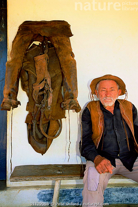 Caatinga vaquiero / cowboy with leather clothing, Bahia, Brazil, PEOPLE,VERTICAL,TRADITIONAL,PROTECTION,SOUTH-AMERICA, Pete Oxford