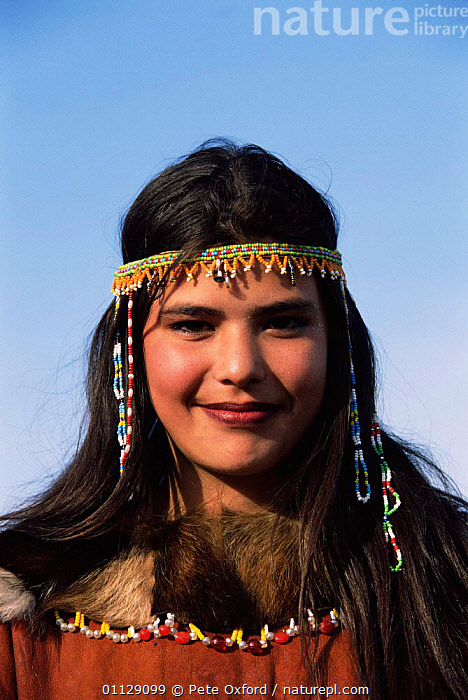 Koryaks woman in traditional dress, Kamchatka, East Russia, VERTICAL,SIBERIA,PORTRAITS,TRIBES,FACES,BEADS,CIS, Pete Oxford