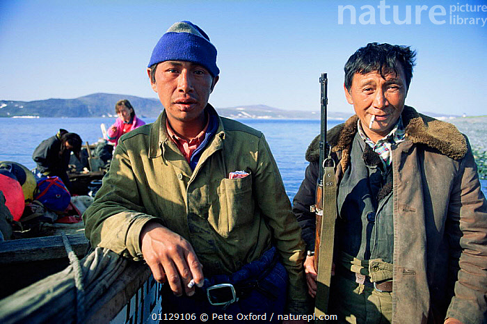 Yupik eskimos, Yttygran island, Whale bone alley, off Chukotka, E Siberia, Russia, BOATS,BOAT,ARCTIC,ASIA,COASTS,TRADITIONAL,FISHING,TRIBES,UMIAK,PEOPLE,CIS, Pete Oxford