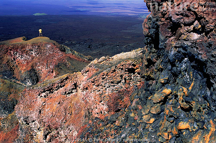 Crater wall of active Chico volcano, Isabella Is, Galapagos  ,  VOLCANOS,LANDSCAPES,PEOPLE,SIZE,ROCK FORMATIONS,Geology,SOUTH-AMERICA  ,  Pete Oxford