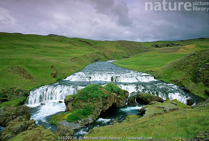 Waterfall on river above Skogafoss, Iceland  ,  LANDSCAPES,WATERFALLS,RIVERS,Europe  ,  Michael Hutchinson