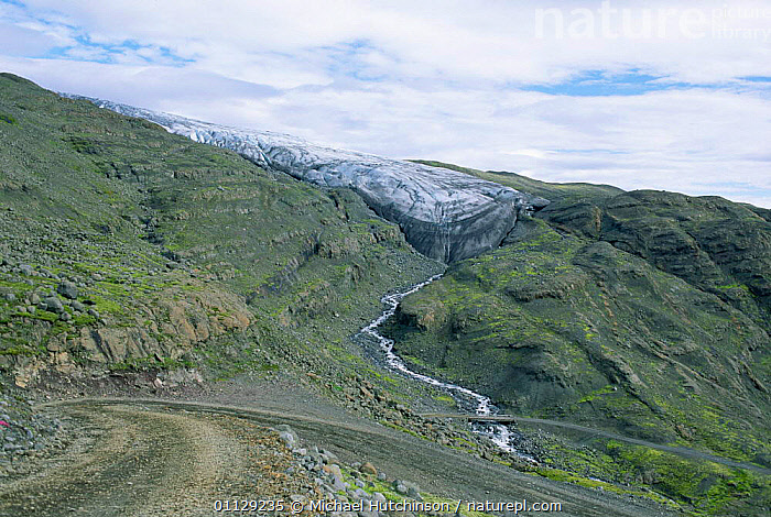 F985 mountain road and a tongue of Skalafellsjokull glacier, South Iceland  ,  ROADS,MOUNTAINS,LANDSCAPES,GLACIERS,Geology,Europe  ,  Michael Hutchinson