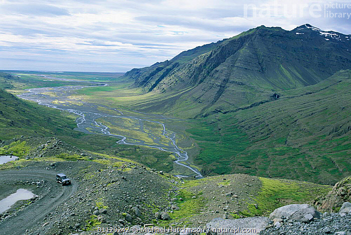 View of valley from F985 mountain road, South Iceland  ,  LANDSCAPES,MOUNTAINS,ROADS,Europe  ,  Michael Hutchinson