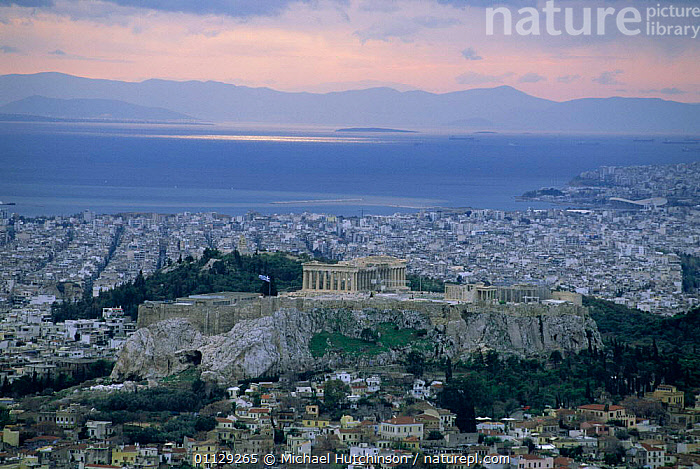 Acropolis and Athens city at sunset, Greece, MEDITERRANEAN,LANDSCAPES,RUINS,COASTS,CITIES,ANCIENT,AEGEAN,Europe, Michael Hutchinson