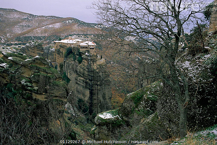 Monastery perched on sandstone rock tower, Meteora, Greece  ,  WINTER,SNOW,LANDSCAPES,CLIFFS,BUILDINGS,Geology,Europe  ,  Michael Hutchinson
