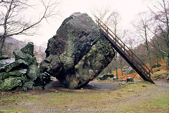 Bowder stone, a 2000 ton glacial boulder deposited in ice age. Cumbria, UK.  ,  UK,LADDER,ROCK FORMATIONS,TOURISM,AGE,EUROPE,LANDSCAPES,United Kingdom,Geology,British,ENGLAND  ,  Michael Hutchinson