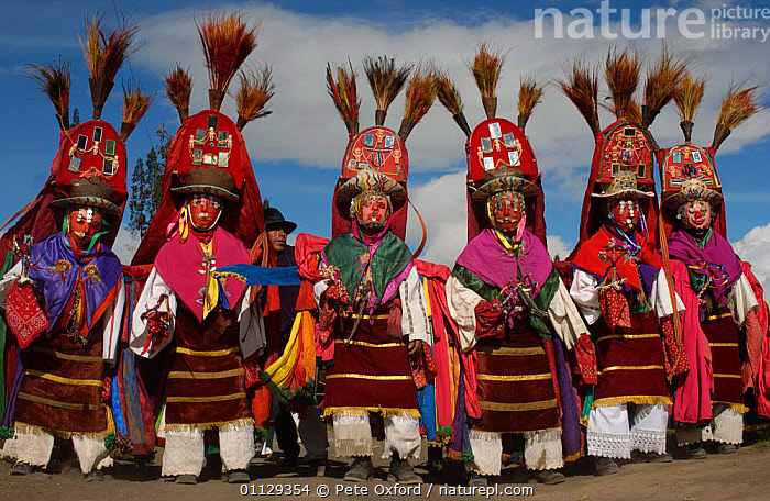 Salasaca indian dancers at Corpus Christi Festival, Salasaca, Andes, Ecuador, LANDSCAPES,GROUPS,PEOPLE,MASKS,DANCER,DANCING,AMBATO,CEREMONY,PROVINCE,RELIGIOUS,TRADITIONAL,TUNGURAHUA,TRIBES, Pete Oxford