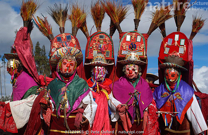 Salasaca indian dancers at Corpus Christi Festival, Salasaca, Andes, Ecuador  ,  TRIBES,TUNGURAHUA,TRADITIONAL,RELIGIOUS,PROVINCE,CEREMONY,AMBATO,DANCING,DANCER,MASKS,PEOPLE,GROUPS,LANDSCAPES  ,  Pete Oxford