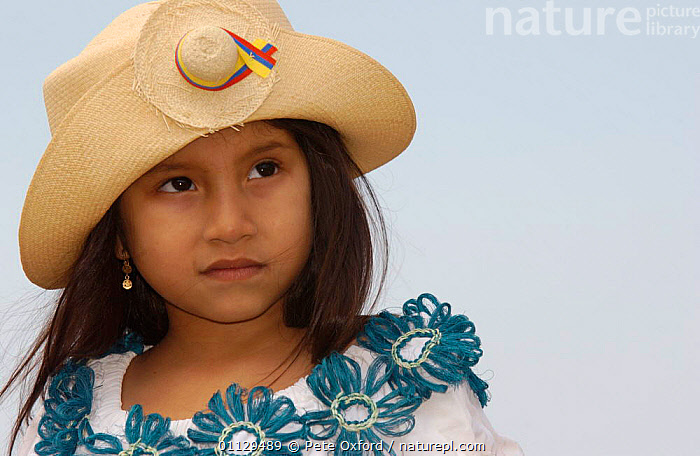 Young girl in traditional dress with straw hat, Montecristi, Ecuador 2004  ,  PORTRAITS,PEOPLE,LANDSCAPES,HATS  ,  Pete Oxford