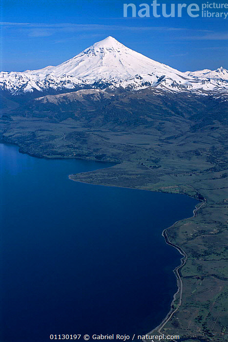 Aerial view of Lake Huechulafquen with Lanin volcano, Lanin National Park, Argentina, LAKES,LANDSCAPES,NP,RESERVE,SNOW,SOUTH AMERICA,VERTICAL,VOLCANOES,Geology,National Park,SOUTH-AMERICA, Gabriel Rojo