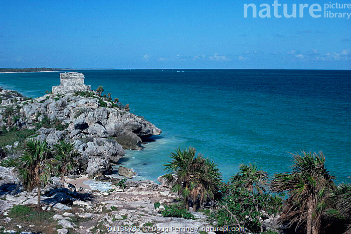 Temple of the Wind on the coast at Tulum, Yucatan, Mexico  ,  BUILDINGS,CARIBBEAN,CENTRAL AMERICA,COASTS,MAYA,MEXICO,SEA,TEMPLES,WIND,Weather,West Indies,CENTRAL-AMERICA  ,  Doug Perrine