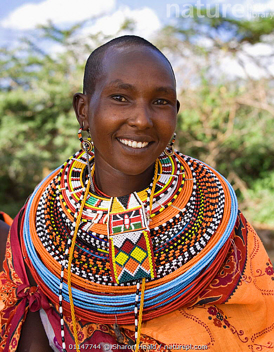 Samburu woman with bead necklaces, Laikipia, Kenya., AFRICA,BEADS,COLOURFUL,EAST AFRICA,FACES,JEWELLRY,PEOPLE,PORTRAITS,TRADITIONAL,TRIBES,VERTICAL,EAST-AFRICA, Sharon Heald