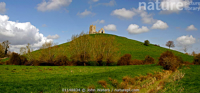 Burrow Mump, Ruins of Church, Somerset Levels, UK.  ,  BUILDINGS,CHURCHES,EUROPE,HILL,HILLS,LANDSCAPES,UK,United Kingdom,British,ENGLAND  ,  John Waters