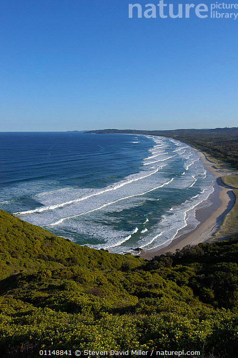 Cozy Corner viewed from top of Cape Byron State Conservation Park, Tallow Beach, New South Wales, Australia - most easterly point in Australia  ,  AUSTRALASIA,AUSTRALIA,COASTS,LANDSCAPES,SEA,VERTICAL,Europe,WALES  ,  Steven David Miller