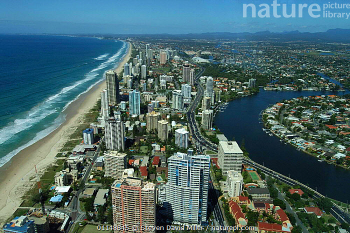 Surfers Paradise coastline viewed from Q1 Building (highest residential building in the world) Gold Coast, Queensland, Australia.  ,  AERIALS,AUSTRALASIA,AUSTRALIA,BEACHES,BUILDINGS,CITIES,COASTS,HIGH RISE,LANDSCAPES,RIVERS,URBAN  ,  Steven David Miller