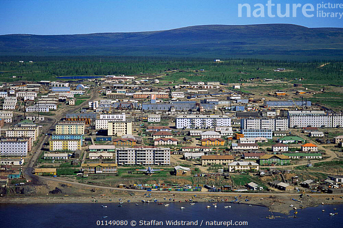 Looking down on developed town of Cheskly, on banks of the Kolyma river with tundra stretching out behind, Siberia, Russia  ,  Aerial,ASIA,BUILDINGS,DEVELOPMENT,LANDSCAPES,POPULATION,RIVERS,RUSSIA,settlements,TOWNS,TUNDRA,villages,CIS  ,  Staffan Widstrand