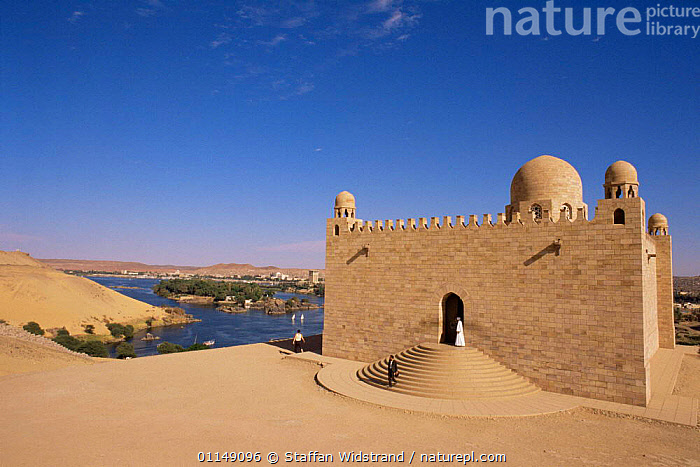 Aga Khan Mausoleum on river Nile, Aswan, Egypt  ,  AFRICA,aswan,BUILDINGS,LANDSCAPES,nile,NORTH AFRICA,PEOPLE,RIVERS,tombs,NORTH-AFRICA  ,  Staffan Widstrand