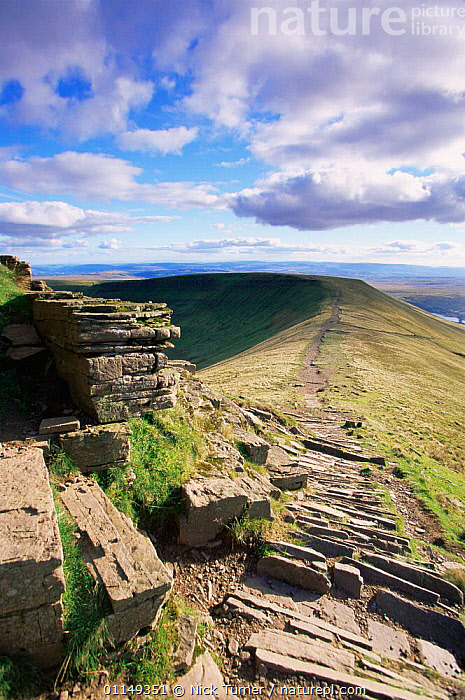 Man made path to prevent erosion, Brecon Beacons NP, Pen Y Fan, Powys, Wales, UK  ,  EUROPE,hiking,LANDSCAPES,paths,pathway,RESERVE,ridge,trails,UK,VERTICAL,United Kingdom,British,WALES,GettyBOV  ,  Nick Turner