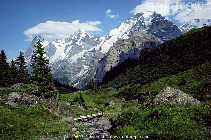 Valley and mountain landscape, Alps, Switzerland  ,  ALPINE,EUROPE,HIGHLANDS,LANDSCAPES,MOUNTAINS,RIVERS,STREAMS  ,  Lynn M Stone