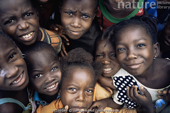 Group of smiling children, Bossue village, Guinea, West Africa, 2000  ,  AFRICA,PEOPLE,PORTRAITS,WEST AFRICA,WEST AFRICA,WEST-AFRICA  ,  James Aldred